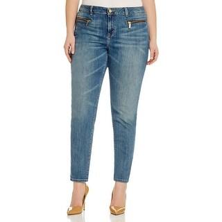 MICHAEL Michael Kors Womens Plus Izzy Skinny Jeans Light Wash Mid-Rise