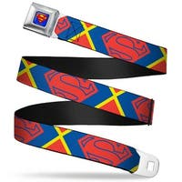 Superman Full Color Blue Superman Shield Close Up Outline Red Blue Yellow Seatbelt Belt