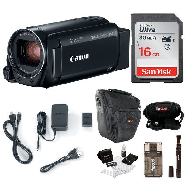 Canon VIXIA HF R800 Camcorder (Black) with 16GB Essential Bundle