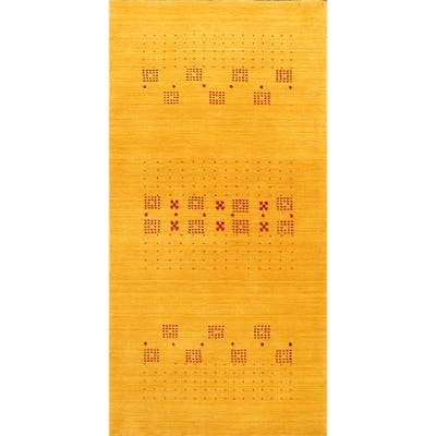 "Modern Gold Tribal Gabbeh Oriental Runner Rug Wool Handmade Carpet - 2'5"" x 4'8"""