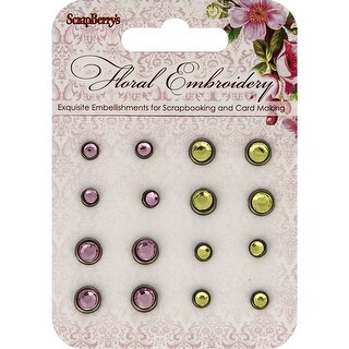 Scrapberry's Floral Embroidery Rhinestone Brads-Pink & Green/8 Each