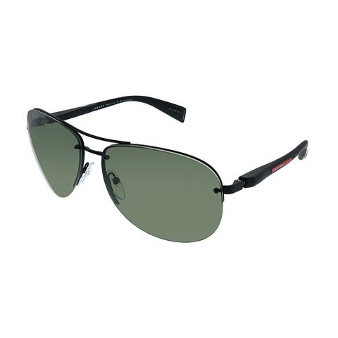 Prada Linea Rossa PS 56MS DG05X1 Unisex Black Rubber Frame Green Polarized Lens Sunglasses