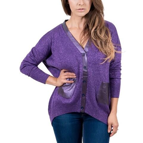 Maglierie Di Perugia V-Neck Purple Lurex Cardigan