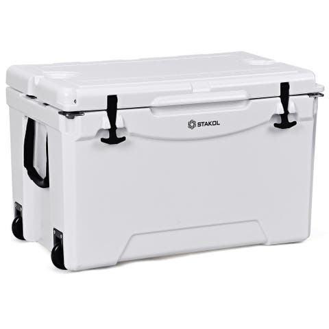 Gymax 80 Quart Cooler 2 Wheels Ice Chest Heavy Duty Fishing Hunting