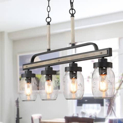 Farmhouse Mason Jar 4-light Island Chandelier Rustic Pendant Lights