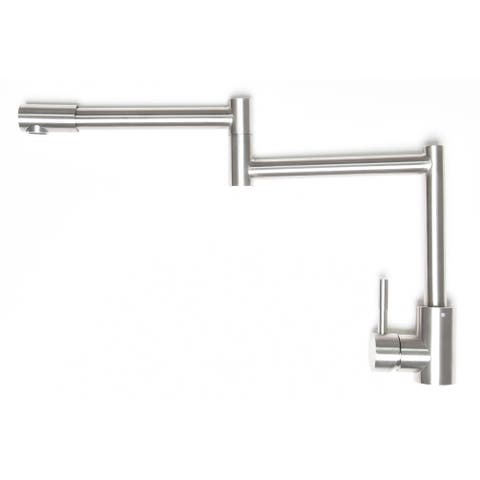 Zenvida Pot Filler Faucet Deck Mount Brushed Nickel Single Handle Dual Joint Swing Arm, Stainless Steel Folding Single H