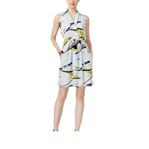 Bar III Women's Printed Striped Summer Fancy Surplice Dress White (XL) - X-Large
