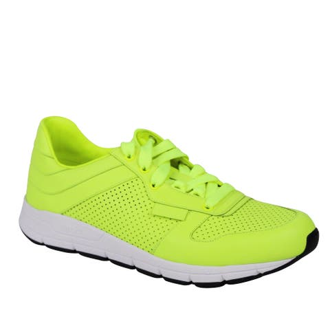 Gucci Men's Lace Up Neon Yellow Leather Running Sneakers 369088 7102