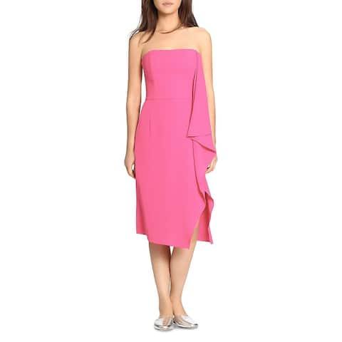 Halston Heritage Women's Draped Strapless Knee Length Cocktail Dress - Pink
