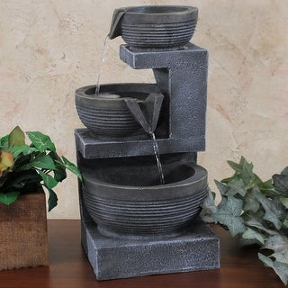 Sunnydaze 3-Tier Cascading Basins Tabletop Indoor Fountain with Light - 15-Inch