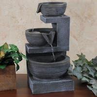 Sunnydaze Three Tier Cascading Basins Tabletop Fountain with Light - 15 Inch
