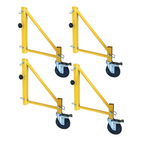Offex 18 Inch Scaffolding Outriggers with Locking Swivel Casters - 4 Piece Set