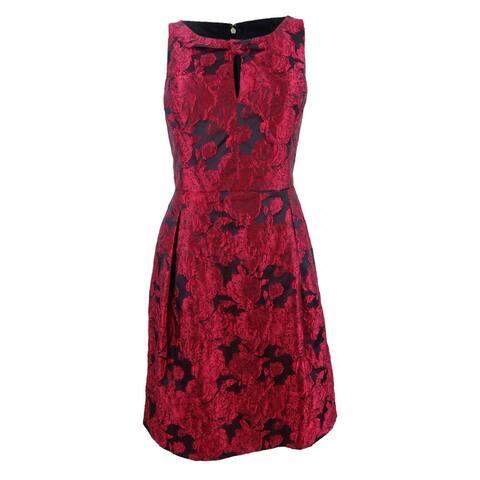 Tommy Hilfiger Women's Rose Jacquard Fit & Flare Dress - Scarlet/Black