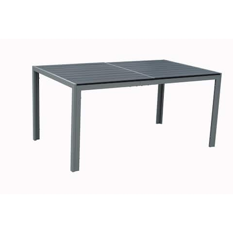 Kozyard Coolmen Outdoor Patio Dining Table with Powder-Coated Frame and Wood Like Laminate Table Top