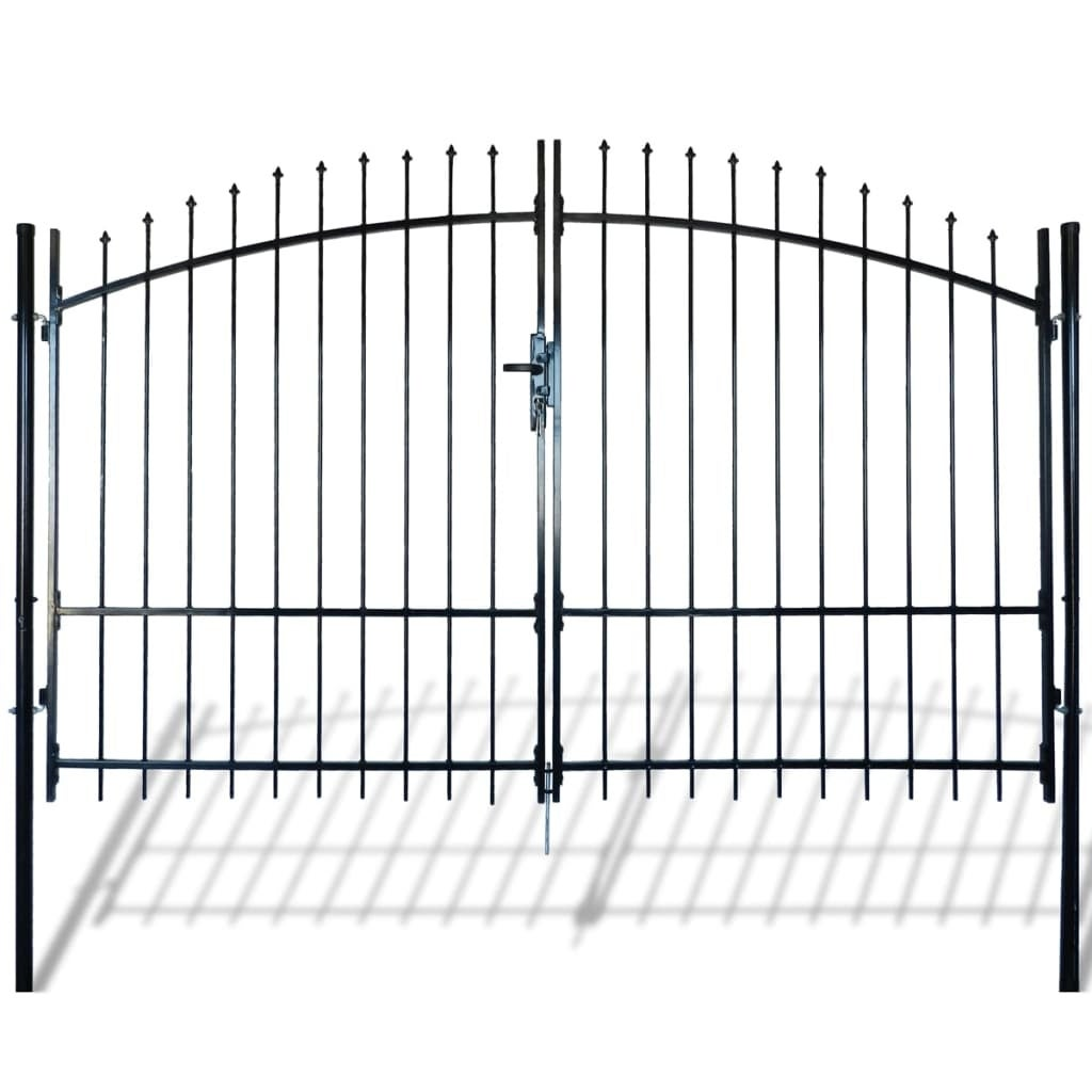 Garden Gate Heavy Duty Steel Double Door Fence Gate with Spear Top Driveway Security Gate for Residential Entryway Yard Patio 157.5 X 68.9