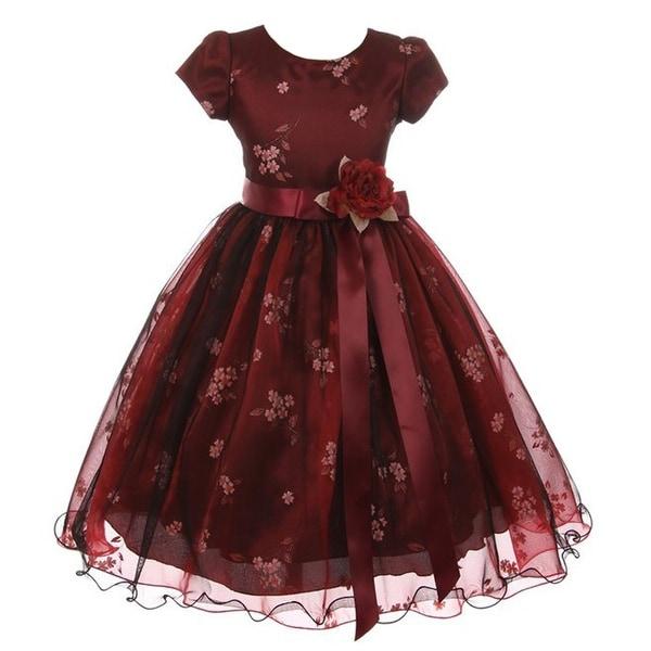 3ace349c59d Shop Kiki Kids Girls Burgundy Black Mesh Organza Flower Christmas ...