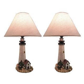 House On The Shore Decorative Lighthouse Table Lamp Set of 2 - White