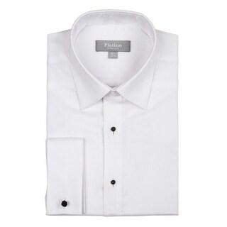 Platino Men's Textured Slim Fit French Cuff Laydown 100% Cotton Tuxedo Shirt