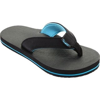 Scott Hawaii Boys' KilaKila Flip Flop Black Polyurethane Leather