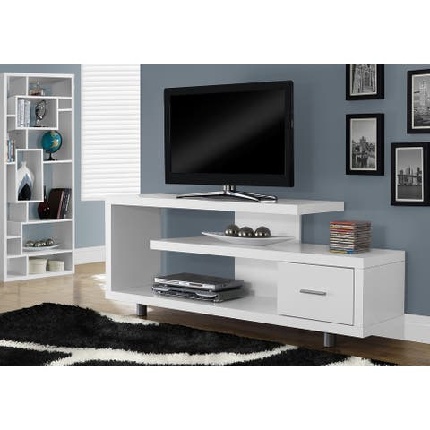 Monarch 2573 White 60nch Tv Stand w/ One Drawer