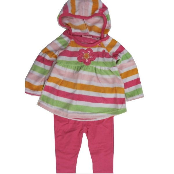 Carter's Baby Girls Pink Striped Butterfly Applique 2 Pc Leggings Set 12-24M