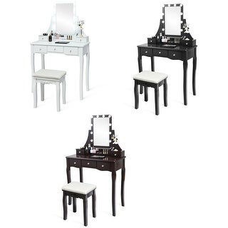 Gymax Vanity Dressing Table Set w/Removable Box &10 Dimmable Bulbs