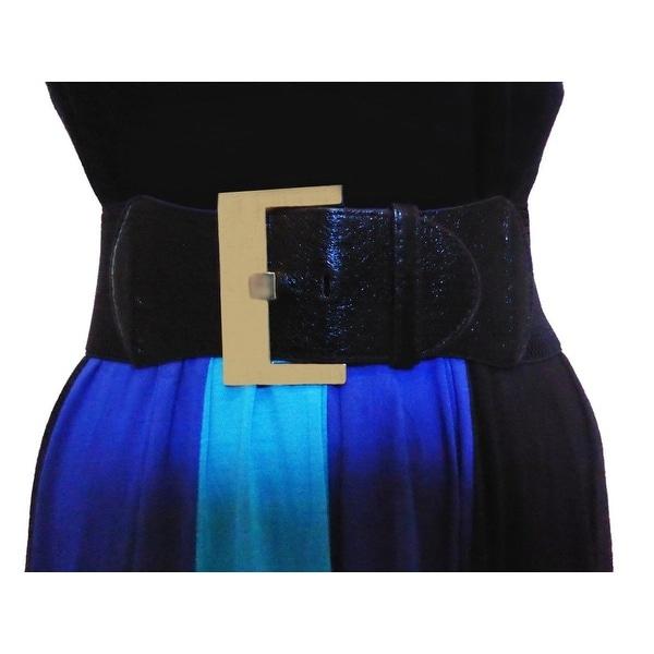 Funfash Plus Size Black Leatherette Silver Buckle Stretchy Elastic Belt One Size