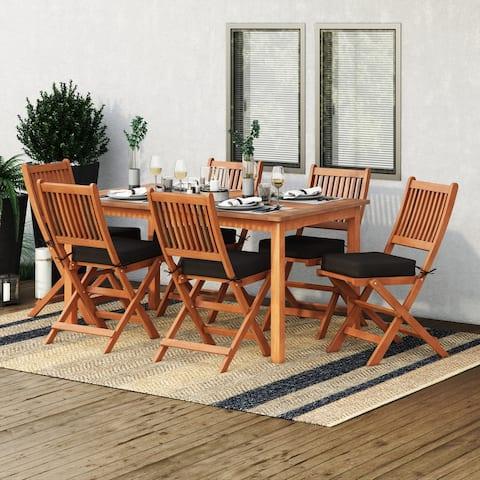CorLiving Miramar Natural Hardwood Outdoor Dining Set, 7pc