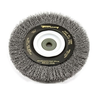 "Forney 72895 Industrial Pro Crimped Wire Bench Wheel Brush, 6"" x .012"""
