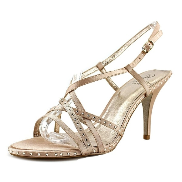 Adrianna Papell Acacia Women Open-Toe Canvas Gold Heels