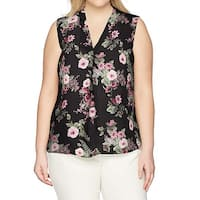 Kasper Black Womens Size 3X Plus Floral Print Split Neck Blouse
