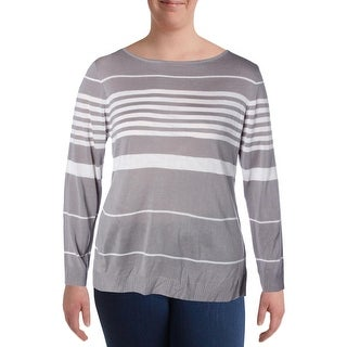 NY Collection Womens Pullover Sweater Striped Boat Neck