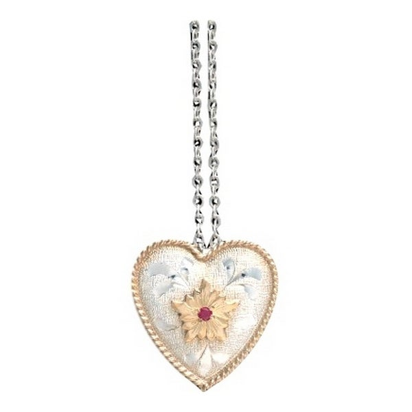 "Vogt Western Women Necklace Sterling Frosted Heart 18"" Silver 016-1280 - silver gold"
