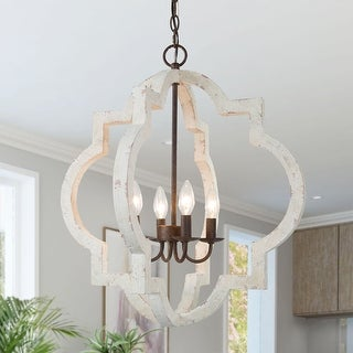 """Link to Farmhouse 4-Lights White Chic Lantern Candle Chandelier - D21.5""""xH24"""" Similar Items in As Is"""