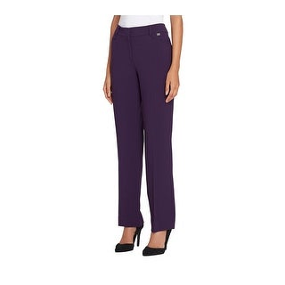Tahari By ASL NEW Purple Womens Size 16 Mid-Rise Crepe Dress Pants