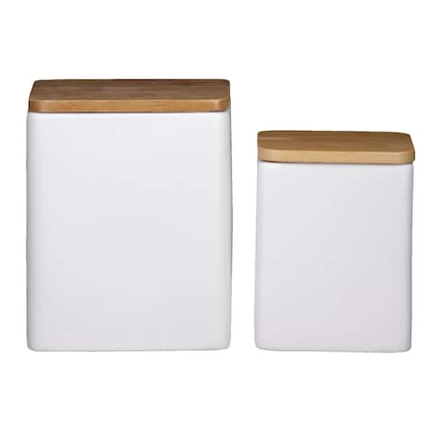 Dual Tone Square Ceramic Canister with Wooden Lid, Set of 2,White and Brown