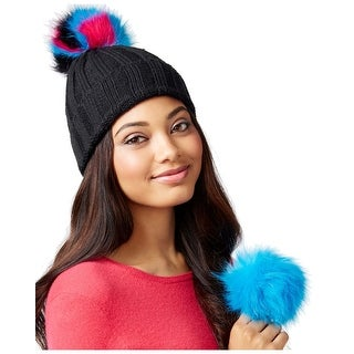 Betsey Johnson xox Trolls Black Cuff Beanie Hat With Removable Pom Pom