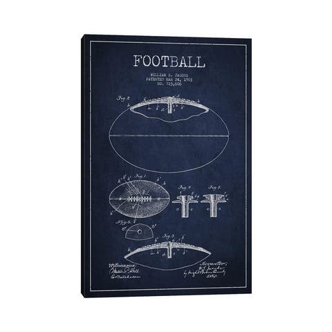 """iCanvas """"Football All Navy Blue Patent Blueprint"""" by Aged Pixel Canvas Print"""