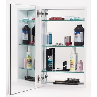 "Alno MC11244 1000 Series 15"" x 25"" Single Door Recessed Medicine Cabinet with White Interior with Plain Edged Mirror"