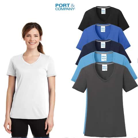 Port & Company Women's (6 Pack) Performance V- Neck T Shirts