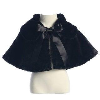 Sweet Kids Baby Girls Black Fluffy Faux Ribbon Closure Cape 6-24M