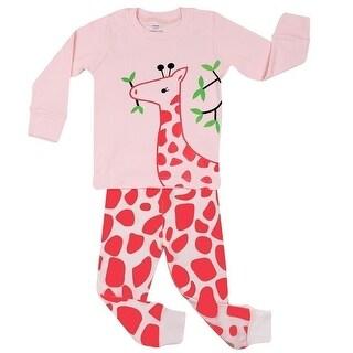 Elowel Little Girls Pink Giraffe Long Sleeve Cotton 2 Pc Pajama Set