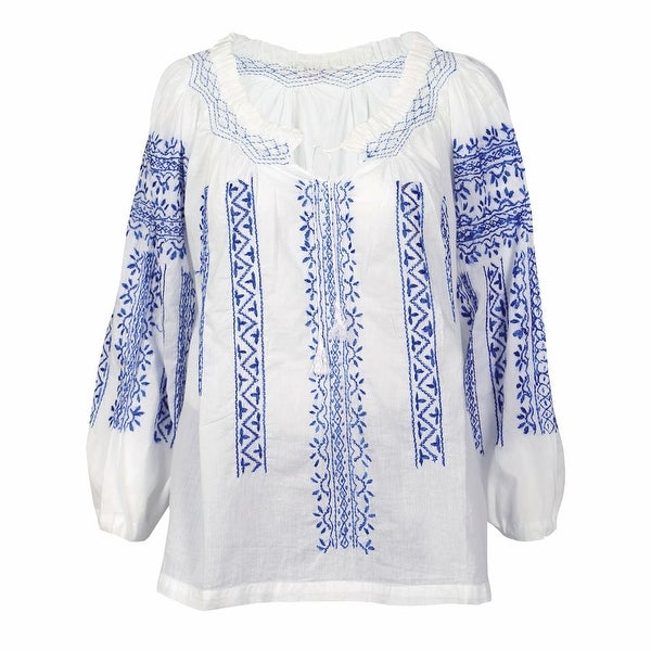Women's Tunic Top - White Embroidered Peasant Blouse