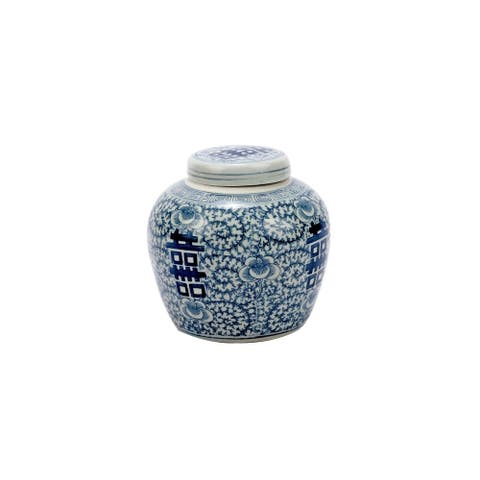 Handmade Double Happiness Floral Lidded Decorative Jar