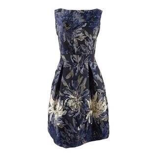 Jessica Howard Women's Metallic Floral Brocade Flare Dress - Navy Multi