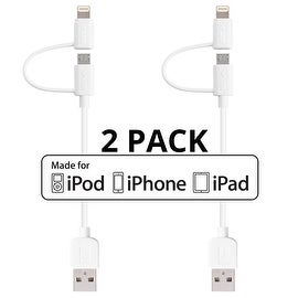 """[2-Pack] Skiva USBLink Short 6"""" Duo Sync / Charge Cable with Lightning and microUSB Connectors for Apple and Android Devices"""