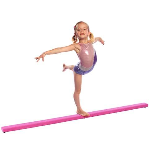 Costway 8FT Pink Folding Floor Balance Beam Sports Gymnastics Skill