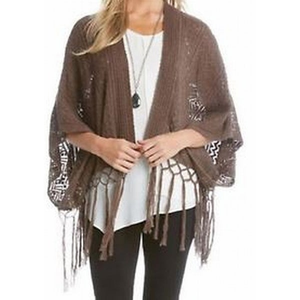 18a24477b3a1 Shop Karen Kane NEW Brown Womens Size Small S Medium M Fringe Poncho Sweater  - Free Shipping Today - Overstock.com - 19752897