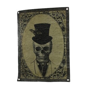 Victorian Skeleton Man Vintage Style Crackled Cloth Portrait Wall Hanging