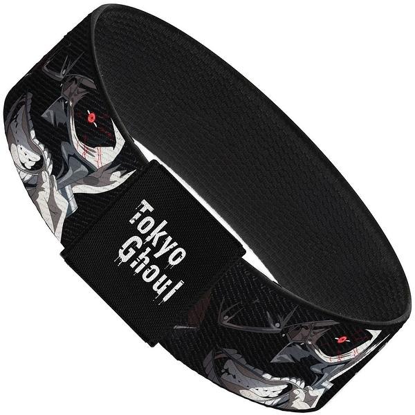 Tokyo Ghoul Kanji Ken Kaneki Face Close Up Black White Elastic Bracelet
